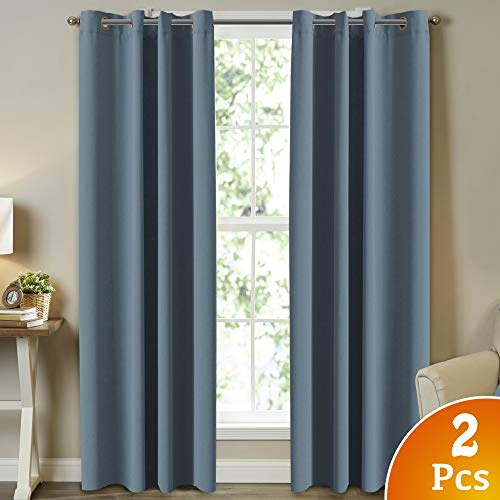 Turquoize Room Darkening Curtains for Bedroom, Citadel/Blue Themal Insulated Blackout Draperies Curtains Panels Noise Reducing Solid Ring Top Window Curtains for Nursery & Infant Care, 52