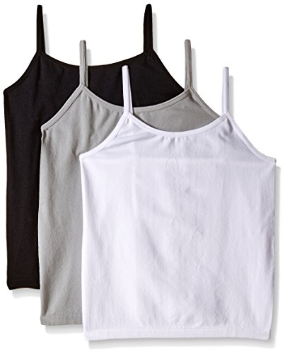 Little Girl Tank Top (Pink House Little Girls' 3 Piece Seamless Jersey Tank Top, White/Black/Grey, 4-6X)