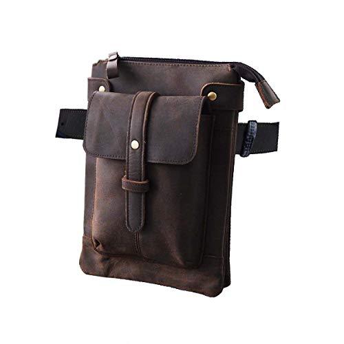 - Le'aokuu Mens Genuine Leather Coffee Fanny Small Messenger Shoulder Satchel Waist Bag Pack (Z 8711 Dark Brown)