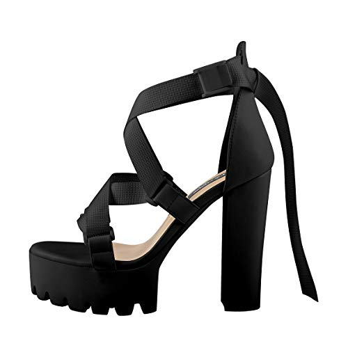 Onlymaker Platform Sandals for Women Black Chunky High Heel Ankle Strap Heeled Sandals Size 13