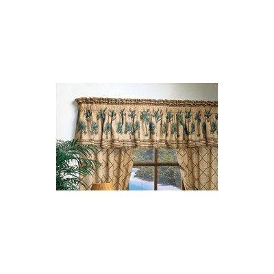 Karin Maki Kona Cotton Blend Rod Pocket Ruffled Curtain - Palm Door Curtain Bamboo Tree