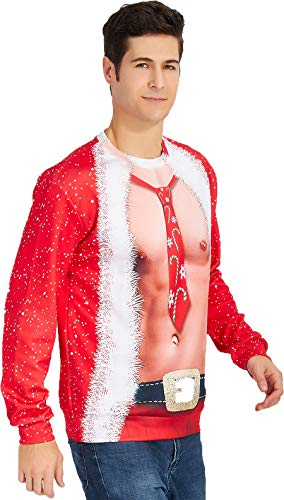 Leapparel Mens and womens Ugly Christmas Sweater party fancy dress Sweatshirt 3d Graphic Printed Round Neck Pullover t-shirts Red, Fake-2-pieces, US S/Asian Tag M