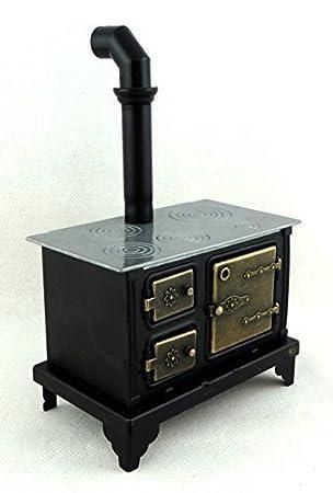 Amazon.es: Muebles de Cocina Miniatura Casa De Muñecas Antiguo Negro ...