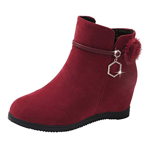 Duseedik Zipper Ankle Bootie, Women Suede Walking Boot Hairball Round Toe Wedges Winter Boots Shoes Pure Color Martin Boots