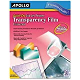 APOLLO CG7031S Transparency Film for Inkjet Devices, Clear, 50/Box