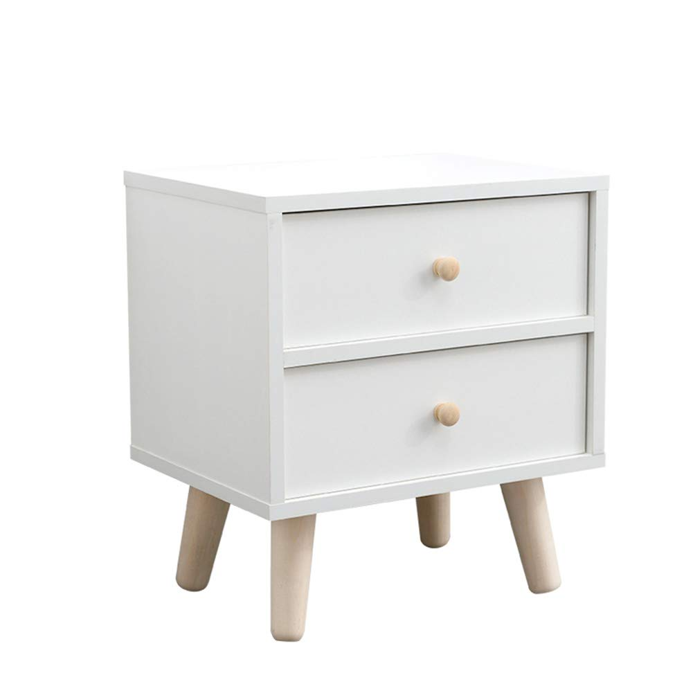 403045cm Coffee Table Side Cabinet, Simple Storage Box, Solid Wood Legs with 2 Drawers Diversified Storage Household Living Room Sofa Side 2 Size (Size   40  30  45cm)