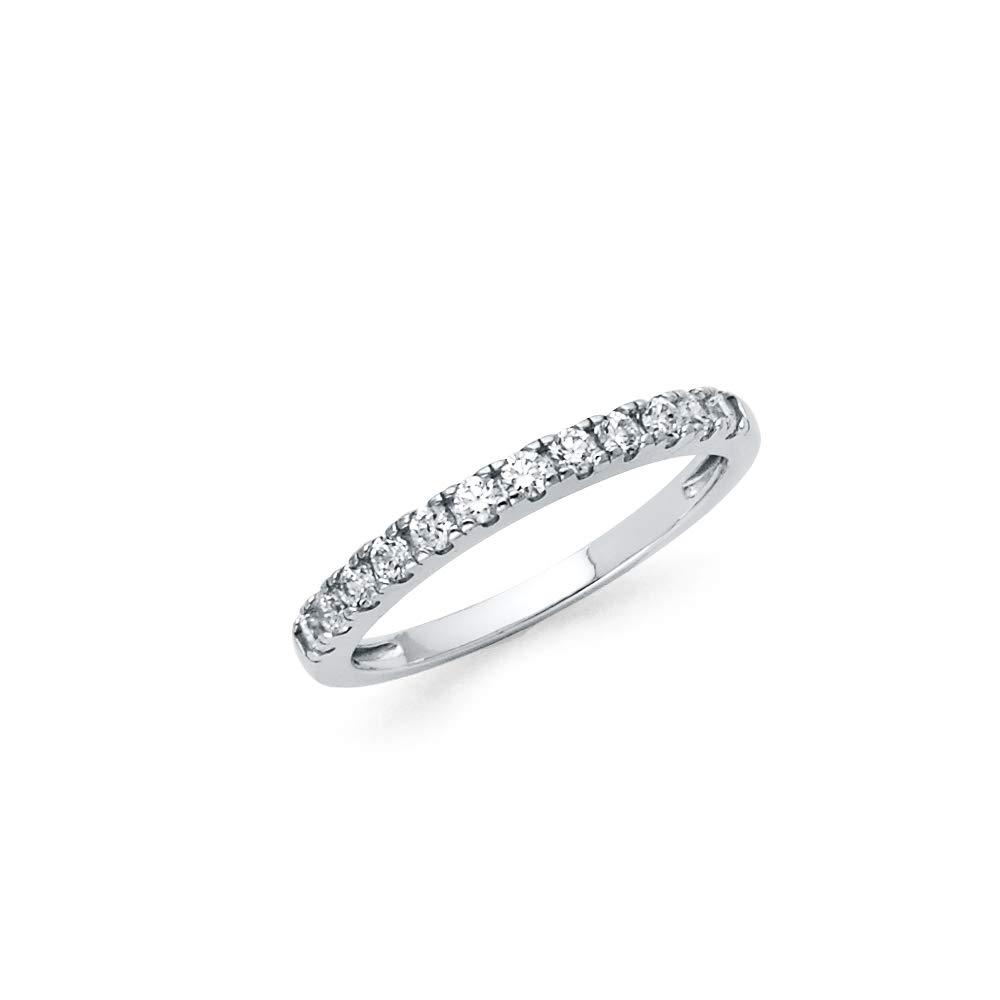 Wellingsale Ladies 925 Sterling Silver Polished Rhodium CZ Cubic Zirconia Wedding Band