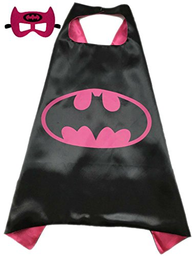 Superhero or Princess Kids CAPE & MASK SET Childrens Halloween Costume (Hot Pink & Black (Batgirl))
