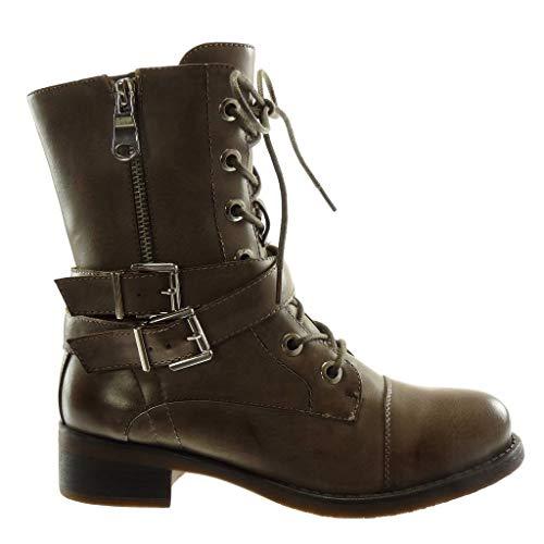 Heel cm Fashion Zip Buckle Khaki Combat Block high Ankle 4 Boots Booty Crossed Women's Angkorly Biker Boots Thongs Shoes Boots U5aaqw