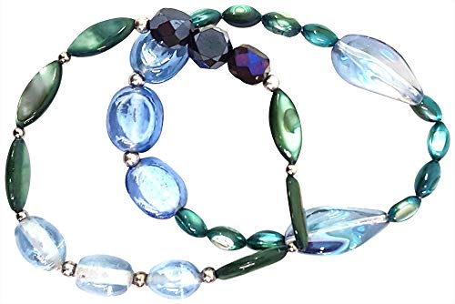 Bay Studio Bead & Shell Stretch Bracelet Set Blue/Green/Silver Tone Bay Studio Set Bracelet