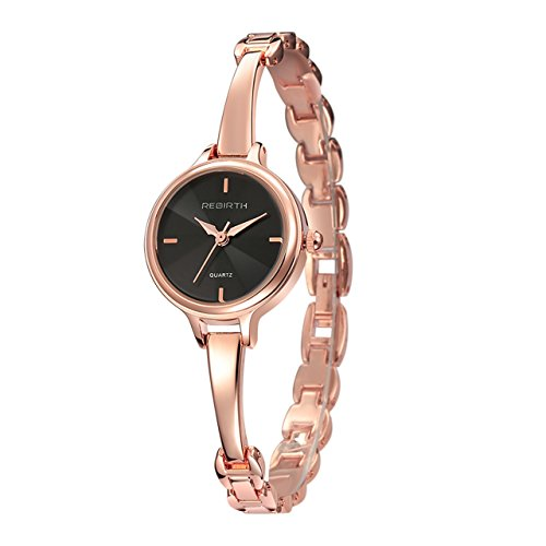 Top Plaza Womens Elegant Rose Gold Luxury Dress Bracelet Cuff Bangle Wrist Watch Analog Quartz 3 ATM Waterproof(Black Dial) (Thin Cuff Watches)
