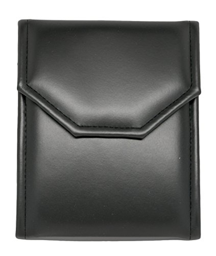 - Novel Box® Premium Small Black/Black Stitched Leatherette Pearl / Omega Necklace Folder + Custom NB Pouch