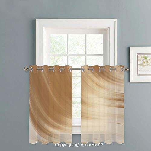 Sheer Curtain Tailored Short Curtains for Bathroom Window Covering Kitchen Cafe Curtains,W42 x L18-Inch,Tan Curved Wave Like Conceptual Artistic Display Creamy Effect Soft Colored Subtle Image