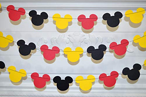 Halloween Themed Club (Mickey Mouse Garland - Paper Garland -Party Supplies - Club House Inspiration - Mickey Head Garland - Tricolor Mickey Head Garland Mickey Paper garland, Birthday decor Mickey garland Mickey)