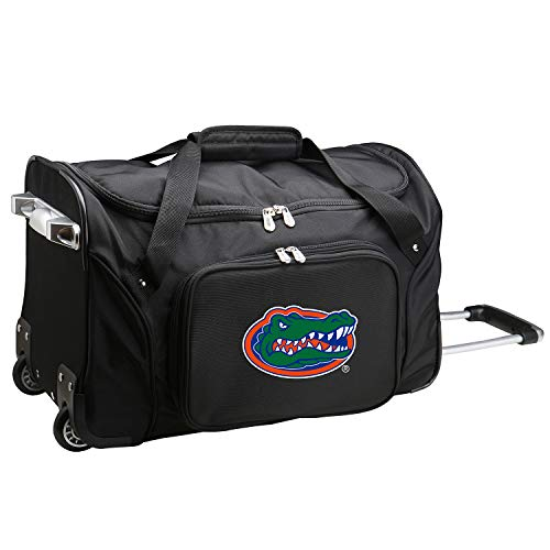 NCAA Florida Gators Wheeled Duffle Bag, 22 x 12 x 5.5, Black