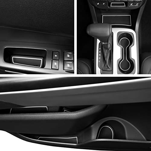 Custom Fit Cup, Door, Console Liner Kit Accessories for Chevy Colorado and GMC Canyon 2019 2018 2017 2016 2015 26pc (Crew Cab)(White Trim)