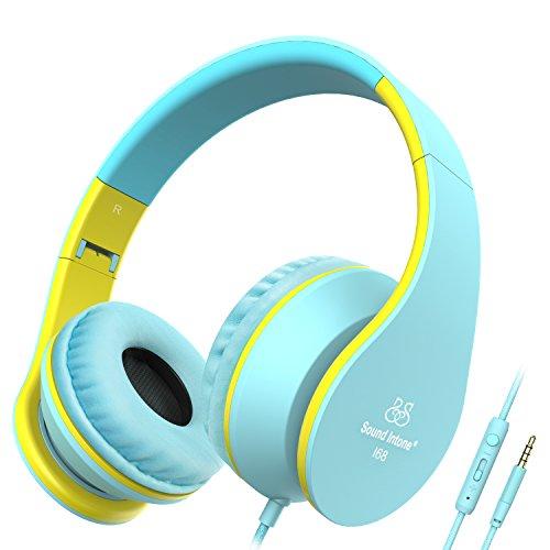 Kinder/Erwachsene Kopfhörer, Honstek 2016 Neue Stereo-Kopfhörer, Klapp-Design, Over-Ear-Kopfhörer für Smartphones (iPhone / Samsung) / Laptops / iPod / iPad mit Micro und In-line Lautstärkeregler (Blau/Gelb)