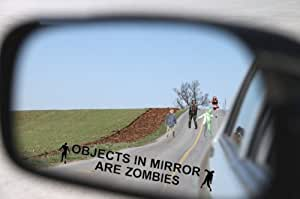 Objects in Mirror Are Zombies Decal - Walking Zombie Bio Hazard Scary Dead Outbreak Response BLACK Etched Glass Vinyl Funny Sticker (Come With Zombie Hunter Permit Decal) StickerCiti Brand