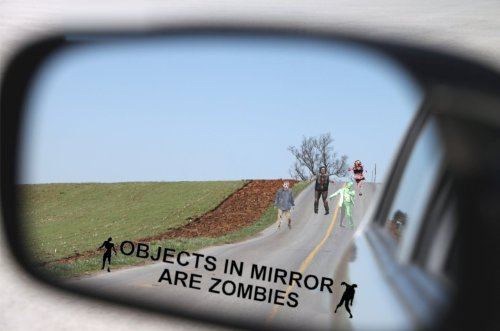 BERRYZILLA Objects in Mirror Are Zombies Decal - Walking Zombie Bio Hazard Scary Dead Outbreak Response BLACK Etched Glass Vinyl Funny Sticker (Come With Zombie Hunter Permit Decal) StickerCiti Brand -