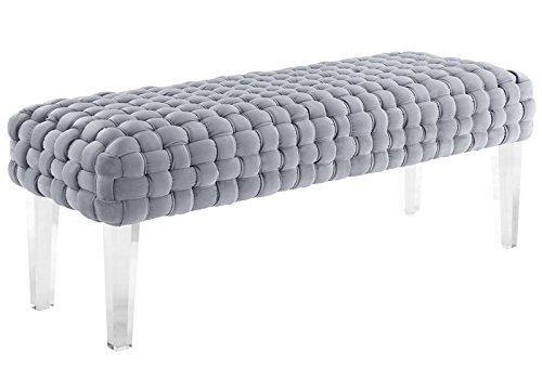 Modern Collection (TOV Furniture The Sal Collection Modern Style Woven Velvet Upholstered Living Room Accent Bench, Grey)