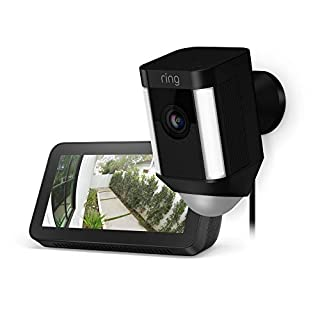 Ring Spotlight Cam Wired (Black) with Echo Show 5 (Charcoal)