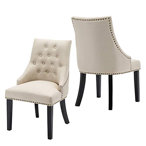 LSSBOUGHT Set of 2 Fabric Dining Chairs Leisure Padded Chairs with Black Solid Wooden Legs,Nailed Trim,Beige (Tufted Dining Chairs Upholstered)