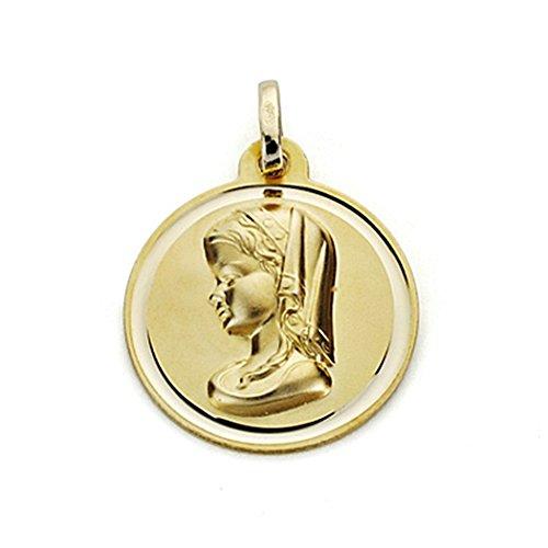 18k médaille d'or Virgin Nina 18mm. chanfrein [7568]