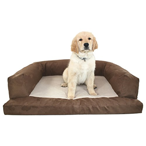 Medium Brown Plush Solid Pattern Dog Bed, Beautiful Modern Orthopedic Comfort Design Pet Lounge, Features Super Soft & Snuggly, Stain Resistant, Hypo-Loft Fiber Filling, Fleece, Suede (Lounge Super Orthopedic)