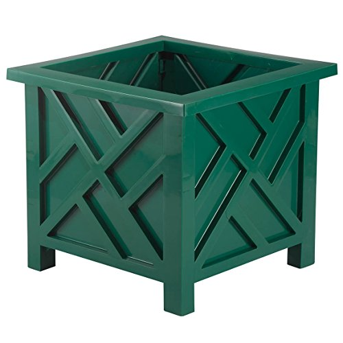 (Chippendale Planter Box, Green - Plant Holder for Garden, Patio and Lawn - 14 ¾