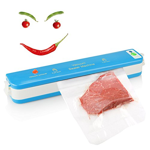 SSAWcasa Vacuum Sealer & 10 Starter Kit Bags,Mini Automatic Sealing System for Sous Vide Food Saver,Dry Food Preservation Machine for Long Term Storage,Time and Food Saving Vacuum Package (Vacuum Package Machine)