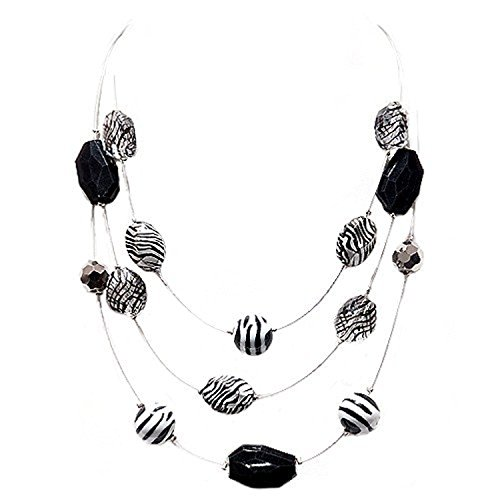 Fashion Rhodium Black & White Striped Beads Three-Strand Silver Illusion Necklace Women's Girl's Gift For Her