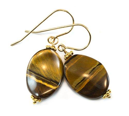 14k Gold Filled Tiger's Eye Earrings Curved Oval Drops Natural Golden Stripes