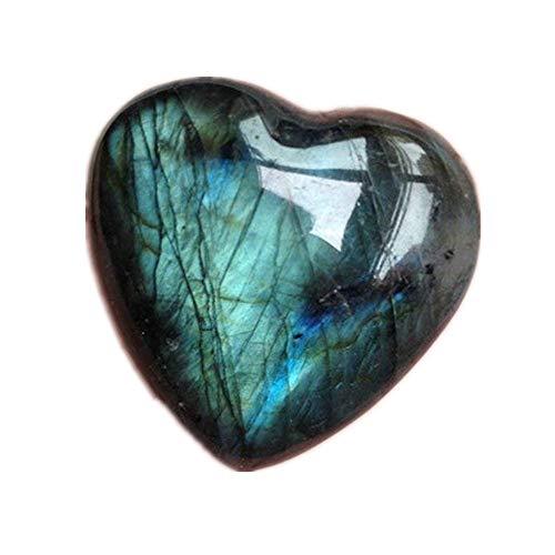 WYJJ Natural Labradorite Heart Crystal Carving Love Heart Palm Stone Figurine Ornaments Gemstone Pendant Semi Gem DIY Jewelry