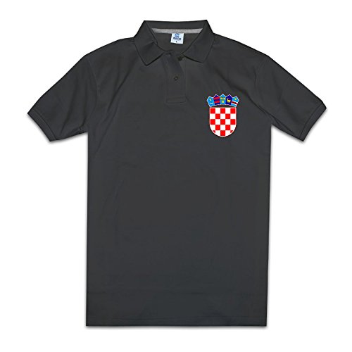(Men Coat Of Arms Of Croatia Emblem Flag Short Sleeve Polo Shirts Black Size XXL)