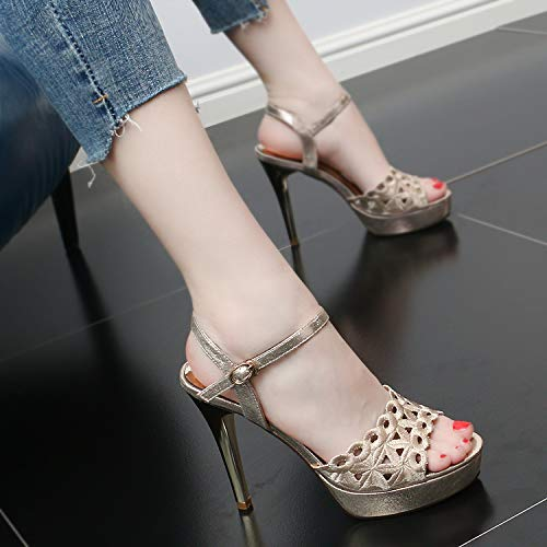 Heels Hollow Fashion GTVERNH Fashionable Mouths Sandals High Pair Summer Fish Of shoes Embroidery 11Cm women's A Heels Black qH8xdBnrH6
