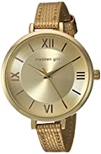 Steve Madden Women's Japanese-Quartz Watch with Leather-Synthetic Strap, Gold, 10 (Model: SMGW016G)