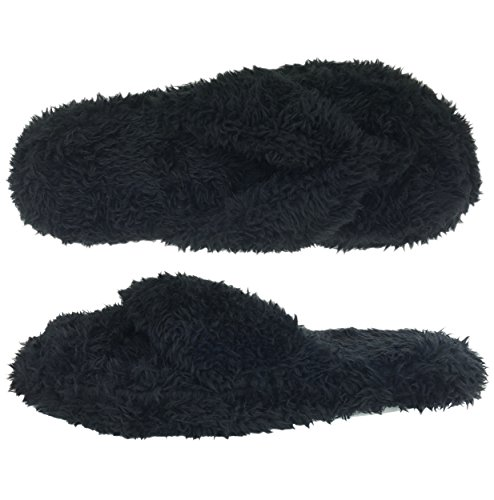 Dearfoams Fuzzy Terry Black Thong Slippers (S (5-6))