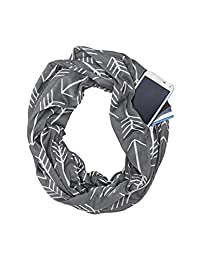 Womens Infinity Scarf Arrow Pattern Hidden Zipper Pocket Loop Scarves Grey One Size