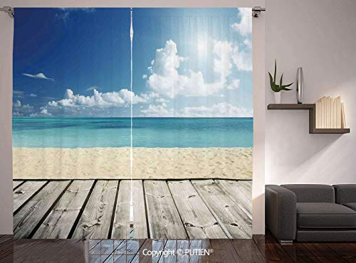 Thermal Insulated Blackout Window Curtain [ Landscape,Tropical Beach from Wooden Pier with Sky Landscape Summer View Image Decorative,Cream Turquoise White ] for Living Room Bedroom Dorm Room Classroo -