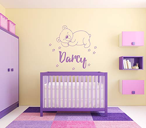 - Wall Sticker Darcy Girl Name Sleepy Bear Stars Good Night Baby Kids Room Vinyl Mural Decal Art Decor EH4685