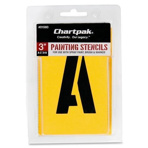 (01560 Chartpak Painting Letters & Numbers Stencil - 3