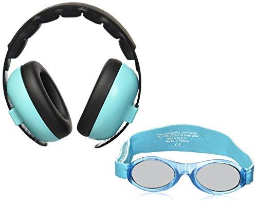 Baby Banz Earmuffs and Infant Hearing Protection and Sunglasses Combo 0-2 Years, Aqua - Banz Sunglasses Baby