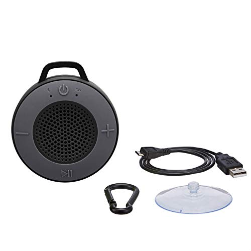 AmazonBasics Wireless Shower Speaker with 5W Driver, Suction Cup, Built-in Mic - Black