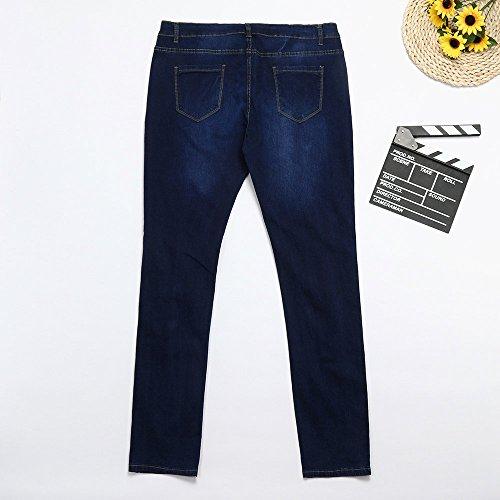 Sottile jeans Pantaloni Ad Forti Taglie Matita Moda Alta Vita Blu Casuale Elastica Denim Lqqstore donna Magro Donna Scuro Jeans 1nxRvqq8