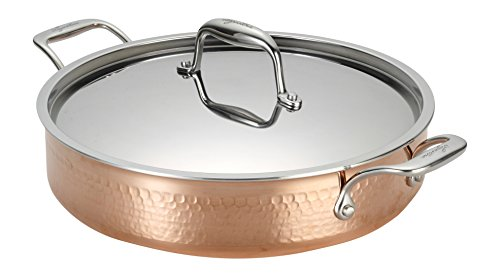 Lagostina Q5544764 Martellata Tri-ply Hammered Stainless Steel Copper Dishwasher Safe Oven Safe Stockpot / Casserolle Cookware, 5-Quart, Copper ()