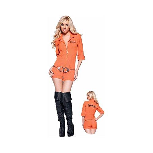 Women's Sexy Prisoner Costume - Busted, Orange, (Sexy Female Prisoner Costumes)