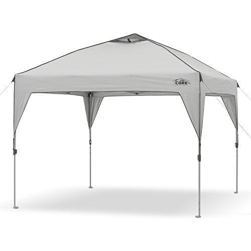 CORE 10′ x 10′ Instant Shelter Pop-Up Canopy Tent with Wheeled Carry Bag, Gray