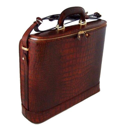 Pratesi Italian Leather Raffaello Italian Crocco King Leather Laptop Briefcase, Cognac Croco