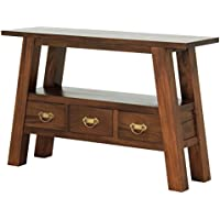 NES Furniture Fine Handcrafted Solid Mahogany Wood Japanese Side Table, 45, Light Pecan