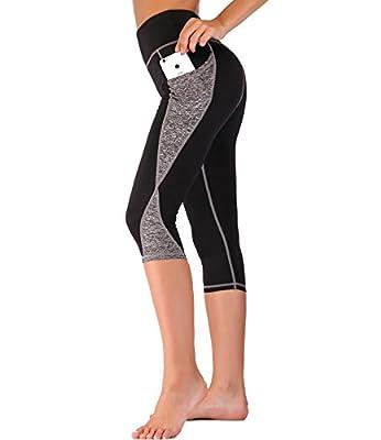 Imido Women's Yoga Capri Pants Sport Tights Workout Running Mesh Leggings Side Pocket